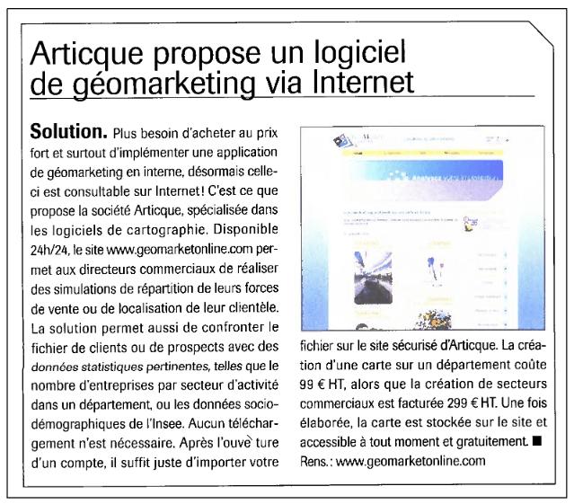 Action Commerciale N° 274 - 01-05-2007 - 321 - 070501-articque-propose-un-logiciel-de-geomarketing-via-internet.pdf 2014-10-17 11-45-51
