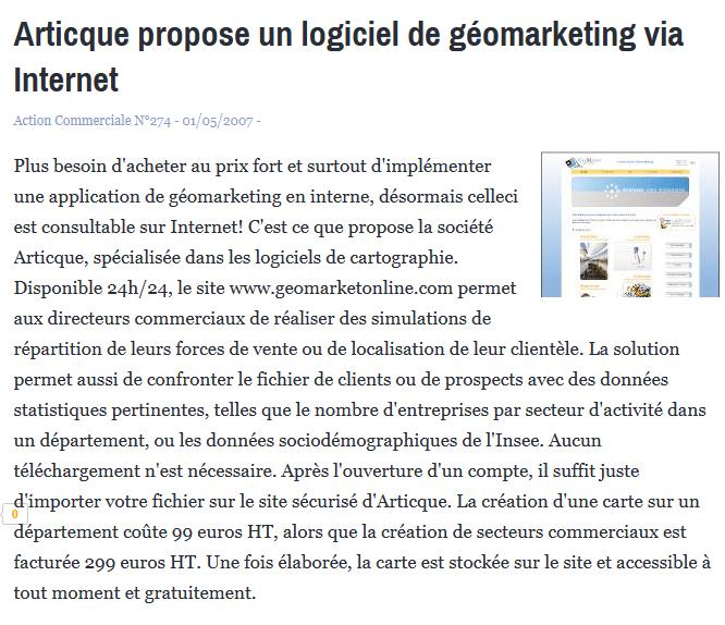 Articque propose un logiciel de géomarketing via Internet - News - Solution. 2014-10-17 11-52-43