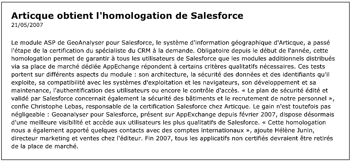 MD Online (Newsletter) N° 70522 - 23-05-2007 - 303 - 210507-certification-salesforce.pdf 2014-10-20 12-12-13
