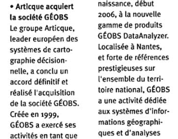 Article Geobs dans L'Innovation La Lettre