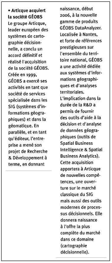 Article Articque acquiert Geobs dans Innovation La Lettre