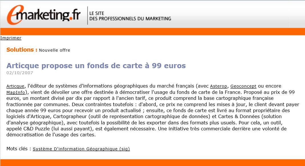 Articque propose un fond de carte pour le prix de 99 euros
