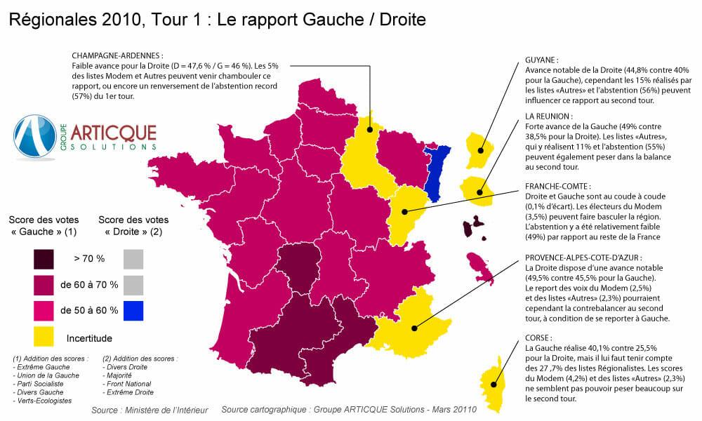 Carte elections regionales 2010 1er tour