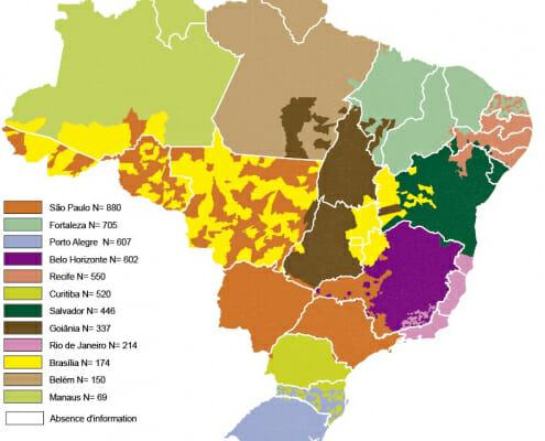 Cartographie des aires d'influence des villes brésiliennes