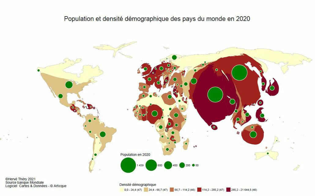 déformation par anamorphose des contours des pays selon leur population