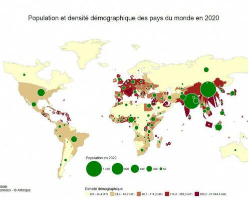 population et densite demographique des pays du monde en 2020