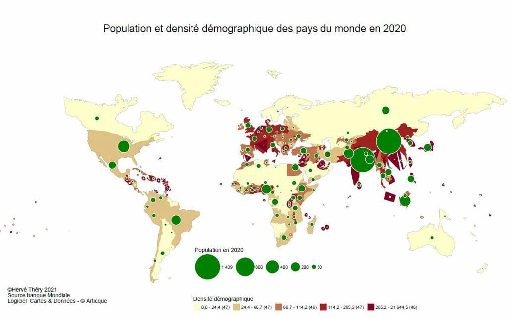 déformation par anamorphose des contours des pays selon leur densité démographique