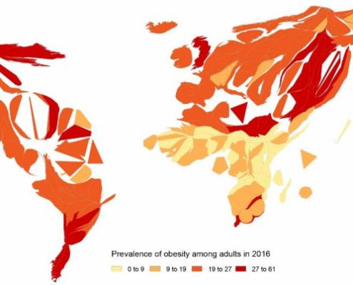 Carte en anamorphose de la prévalence de l'obésite