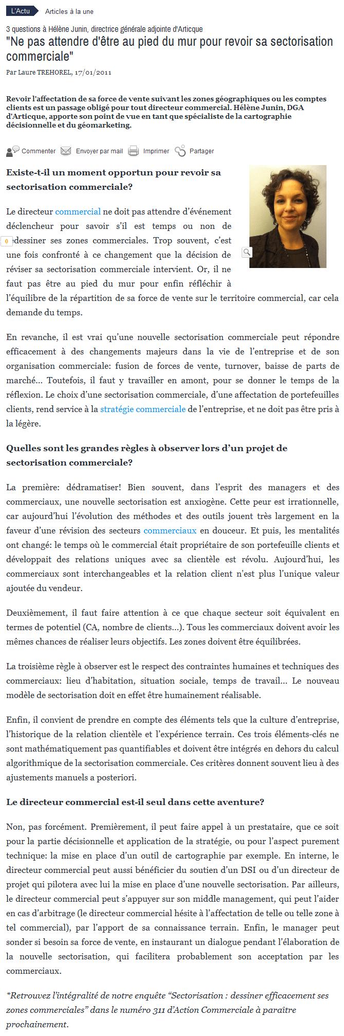 'Ne pas attendre d'être au pied du mur pour revoir sa sectorisation commerciale' - actionco.fr 2014-02-19 11-53-35
