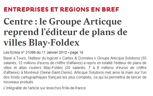 Centre   le Groupe Articque reprend l éditeur de plans de villes Blay Foldex