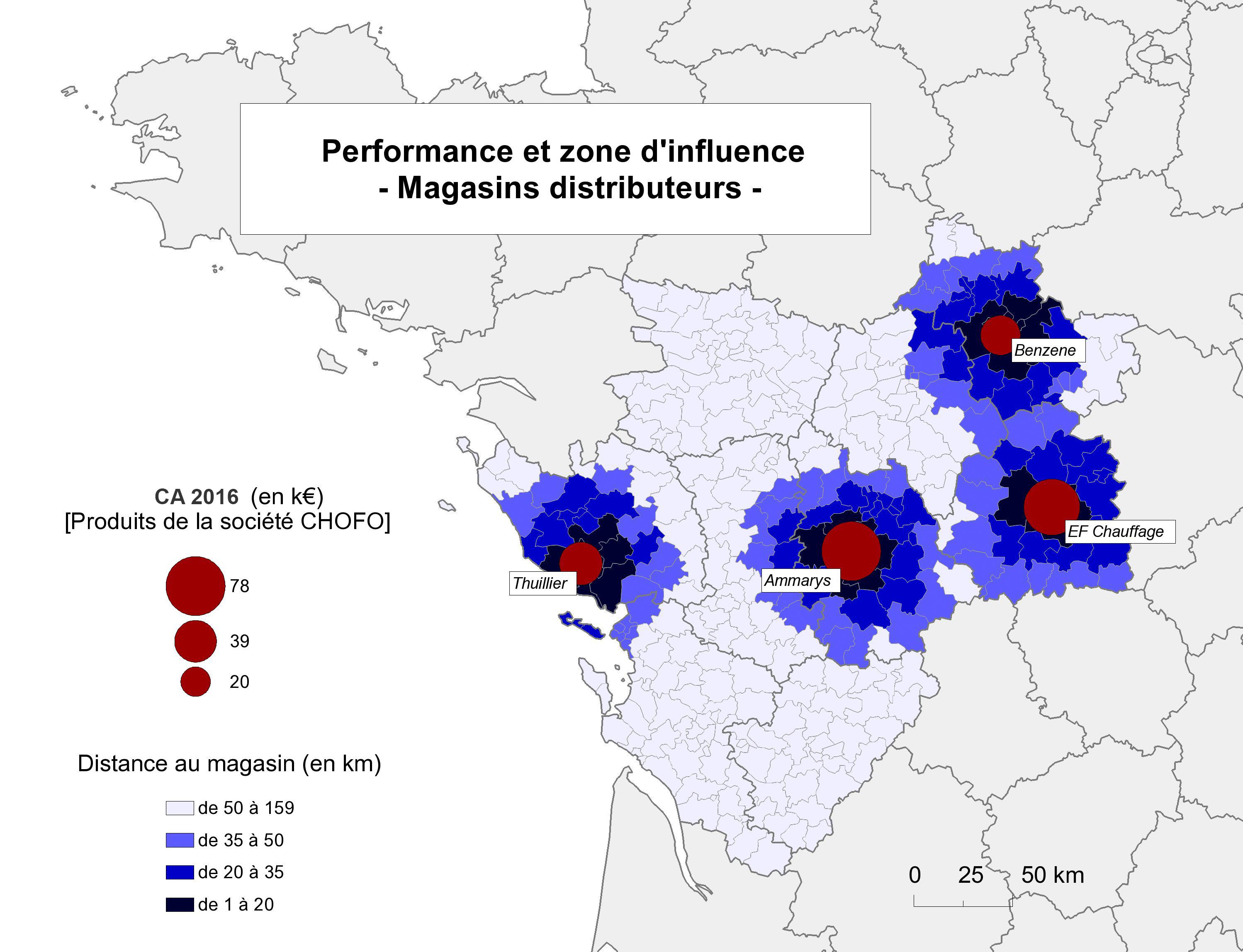 Carte de performance et de zone d'influence de magasins distributeurs