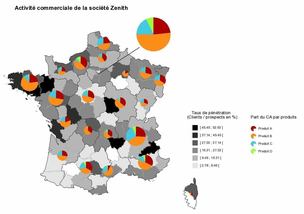 Cartographie statistique de l'activité commerciale de Zenith