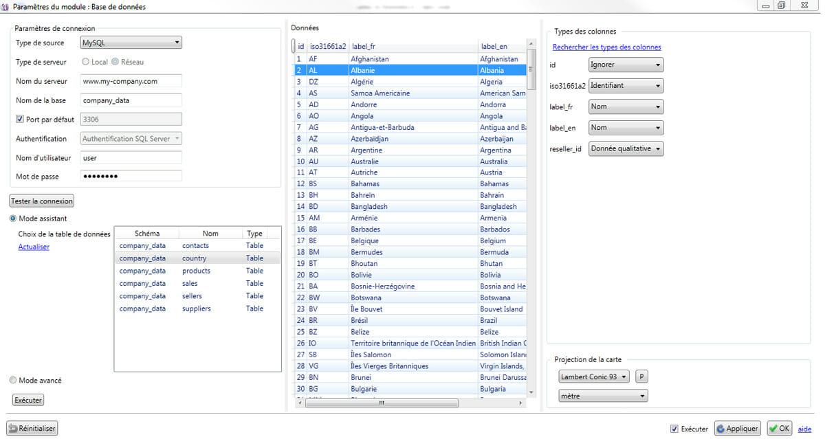 Le module Base de données de Cartes & Données