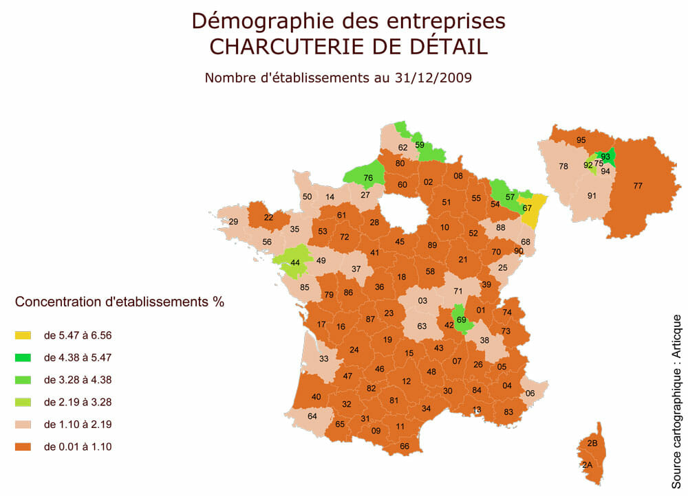 Demographie des etablissements de charcuterie en France