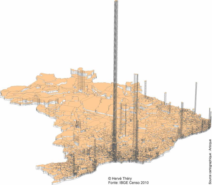 Représentation 3D de la population brésilienne