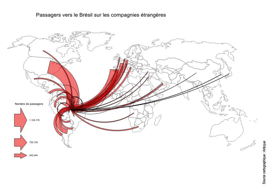 Cartographie des flux aériens au Brésil