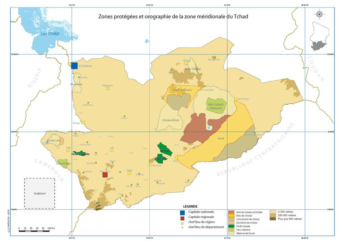 carte tchad parcs et relief