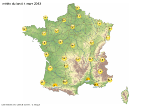 Carte meteorologique du lundi 4 mars 2013
