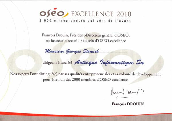 Diplôme OSEO Excellence 2010