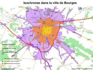 Carte isochrone pour la ville de Bourges