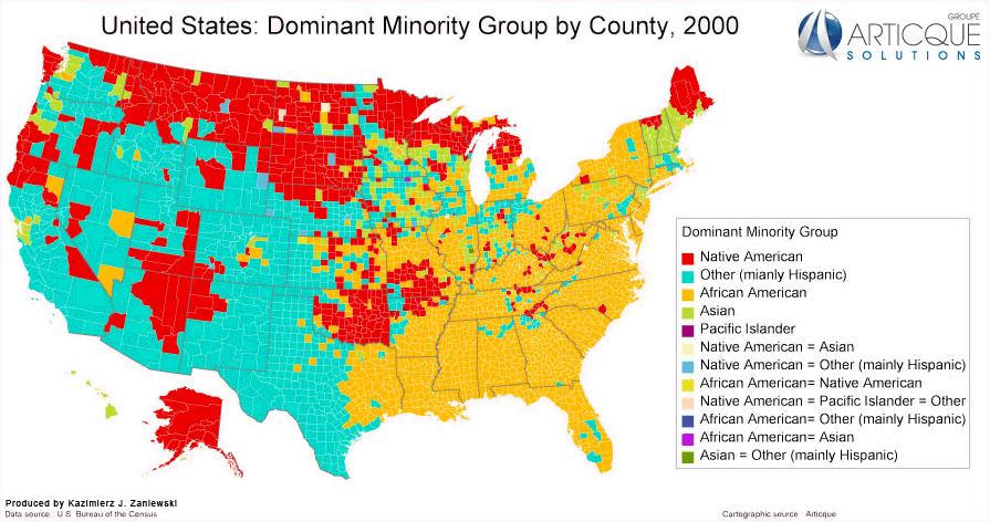Map USA dominant minority group