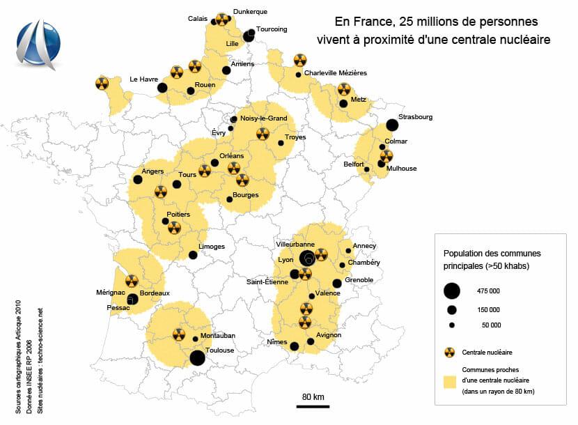 Carte ds sites nucléaires en France