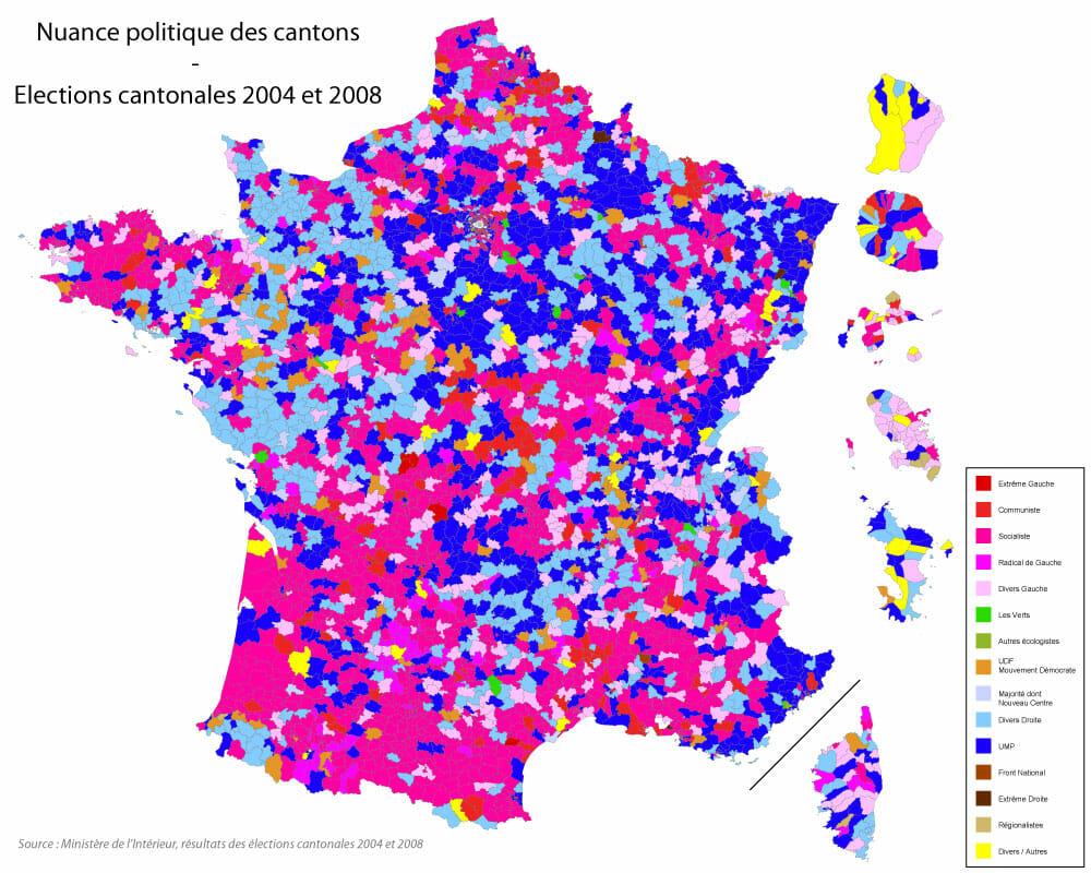 Couleur politique des cantons de France