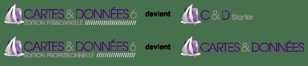 Les versions de Cartes & Données changent de nom