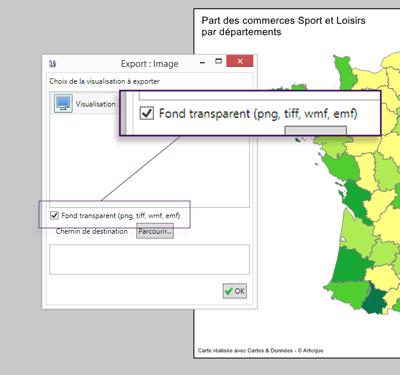 """Cartes & Données : nouvelle option """"Fond transparent"""" dans l'export Images"""