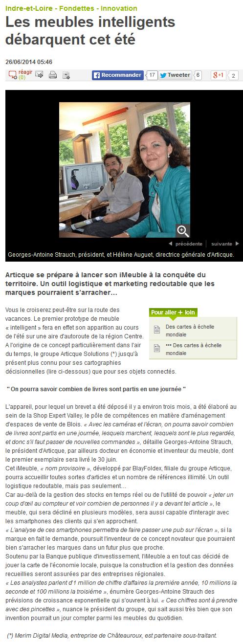 Les meubles intelligents débarquent cet été - 26-06-2014 - La Nouvelle République Indre-et-Loire 2014-06-27 10-07-02