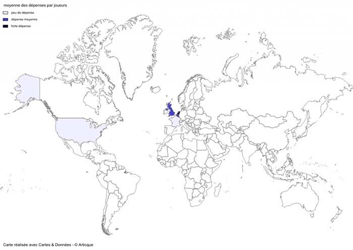 Cartographie des dépenses mondiales par joueur