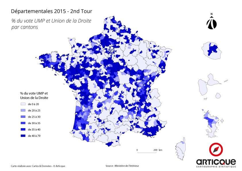 Pourcentage de votes en faveur de l'UMP