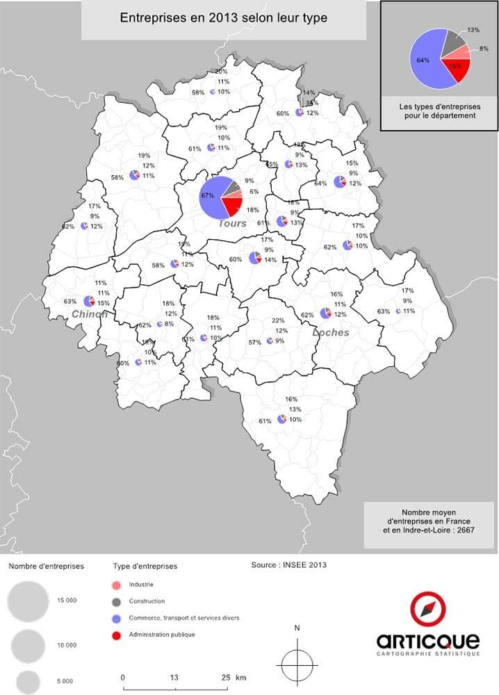 Entreprises en Indre-et-Loire selon leur type
