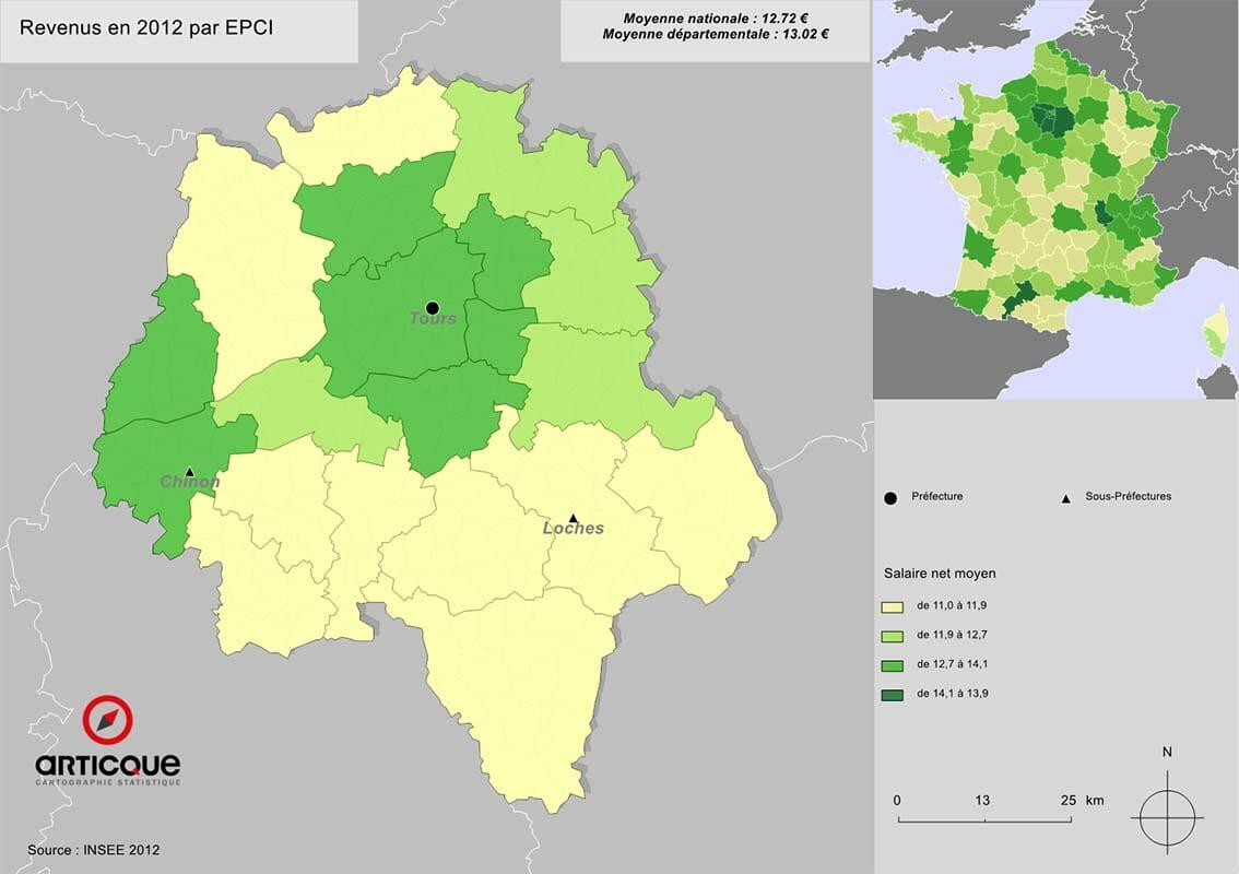 Revenus en 2012 par EPCI