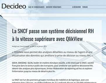 La SNCF a choisi QlikView et Articque MAP