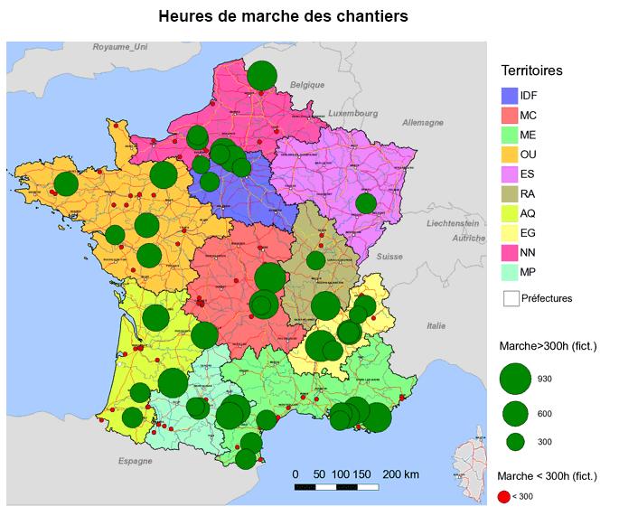 Cartographie des heures de marche des chantiers en France