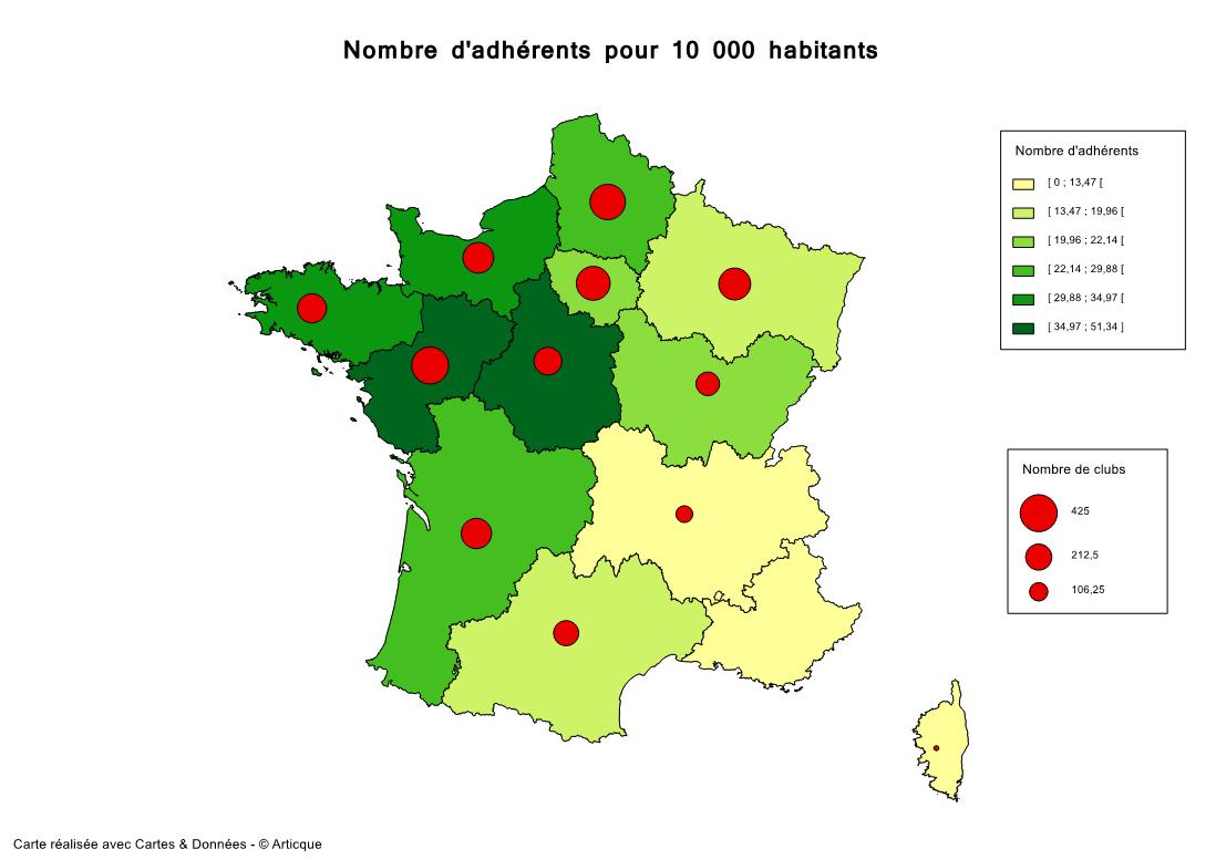 Nombre d'adhérents en France pour 10 000 habitants