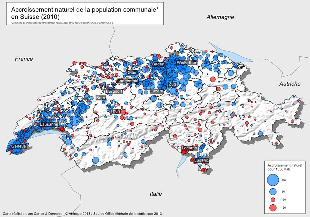 Cartographie de l'accroissement naturel par commune en Suisse