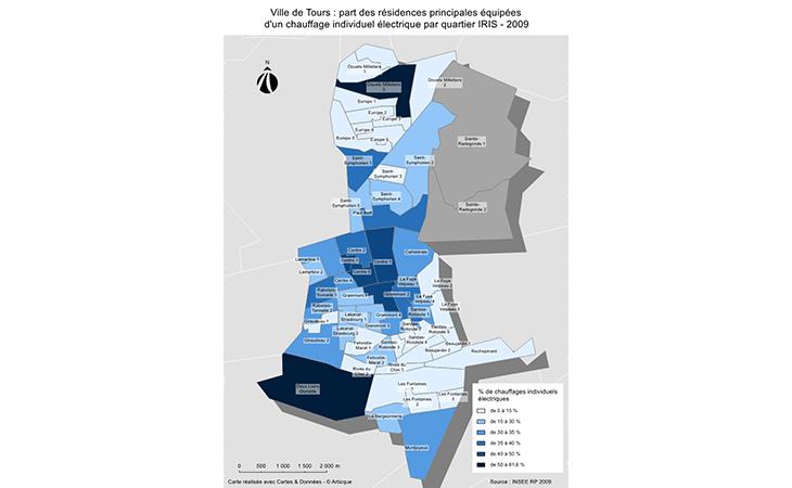Cartographie des résidences équipées d'un chauffage individuel électrique à Tours