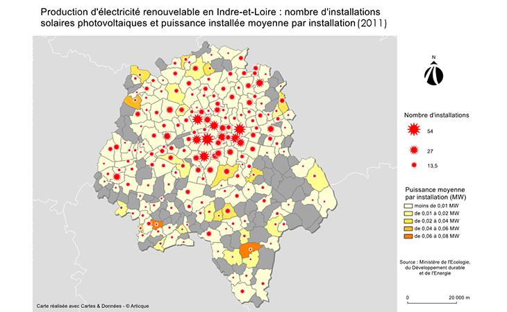Carte de la production d'électricité renouvelable en Indre-et-Loire