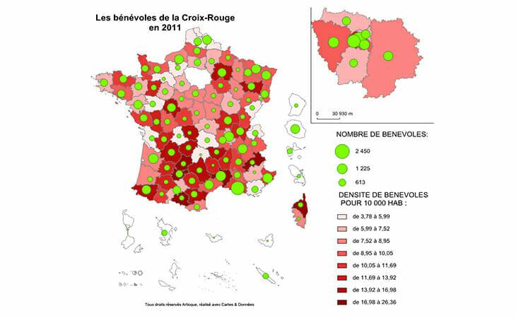 Répartition géographique des bénévoles de la Croix Rouge