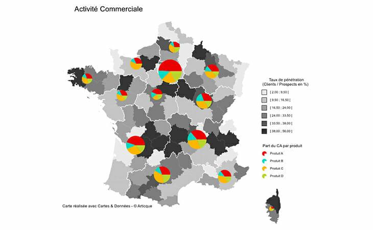 Cartographie statistique de l'activité commerciale en France par secteur