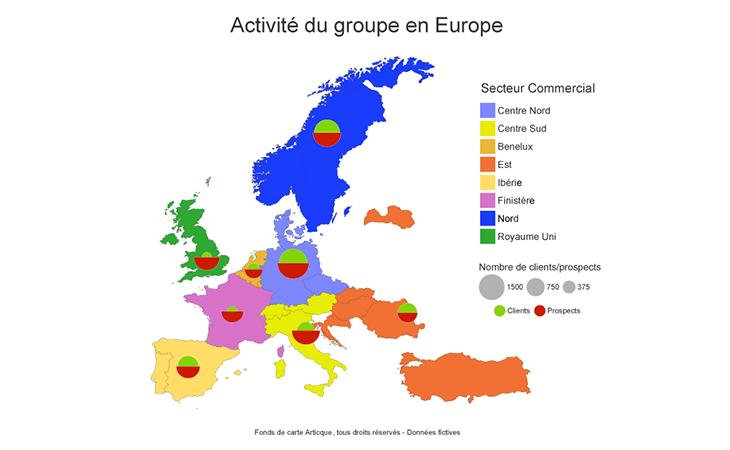 Cartographie statistique de l'activité commerciale en Europe