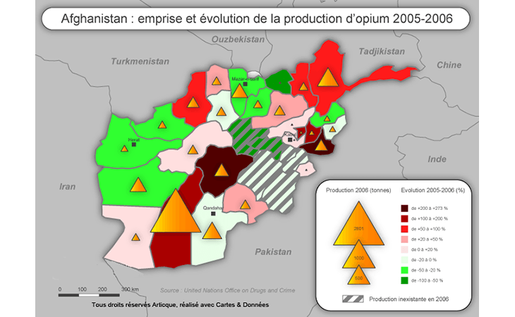 Cartographie de production et d'implantation de la consommation d'opium en Afghanistan