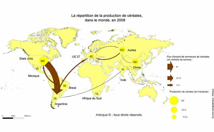 Cartographie de la production mondiale de céréales en 2008