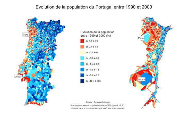 Cartographie démographique du Portugal entre 1990 et 2000