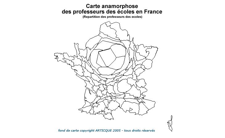 Carte anamorphose des professeurs des écoles en France