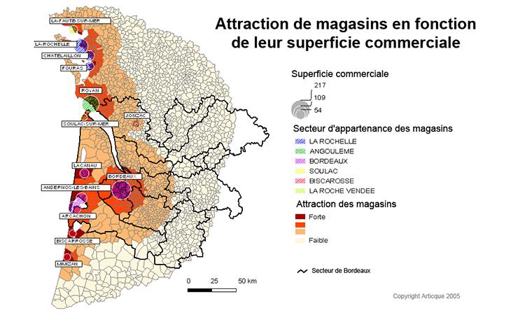 Cartographie de l'attractivité de magasins en fonction de leur superficie