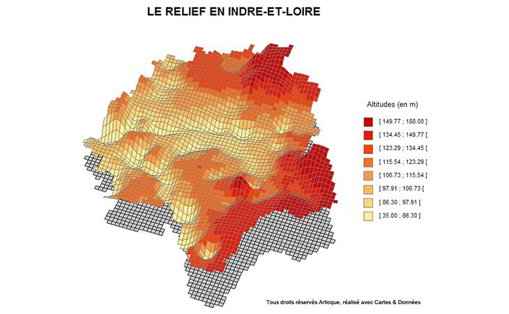 Carte topographique du département de l'Indre-et-Loire