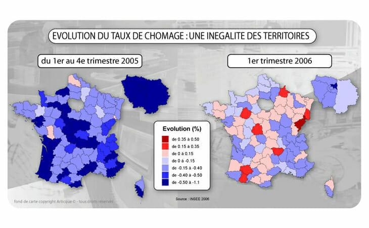 Cartographie statistique de l'évolution du chômage en France
